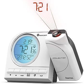 Hama Funk-Projektionswecker (mit Thermometer, Kalender, Funk-Wecker mit Projektion, automatische Zeitanpassung, Projektor um 180 Grad drehbar) weiß