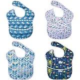 Vicloon Baberos Bebe, 4Pcs Baberos del Bebé Impermeable con Escote Ajustable, Babero Impermeable Infantil del Bebé Baberos La