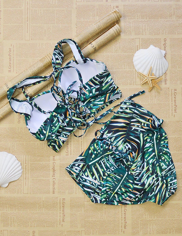 carinacoco Donna Bikini Coordinato Costumi da Bagno Triangolo Stampato Foglie di bambù Due Pezzi Push up Reggiseni… 5 spesavip