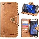 Lensun Kompatibel mit Hülle Handytasche Samsung Galaxy S7 Braun