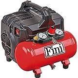 FINI Siltek S/6 stille compressor 2 manometer (59 dB), 6 l, 1,0 HP, 8 bar, 750 W, 230 V, rood