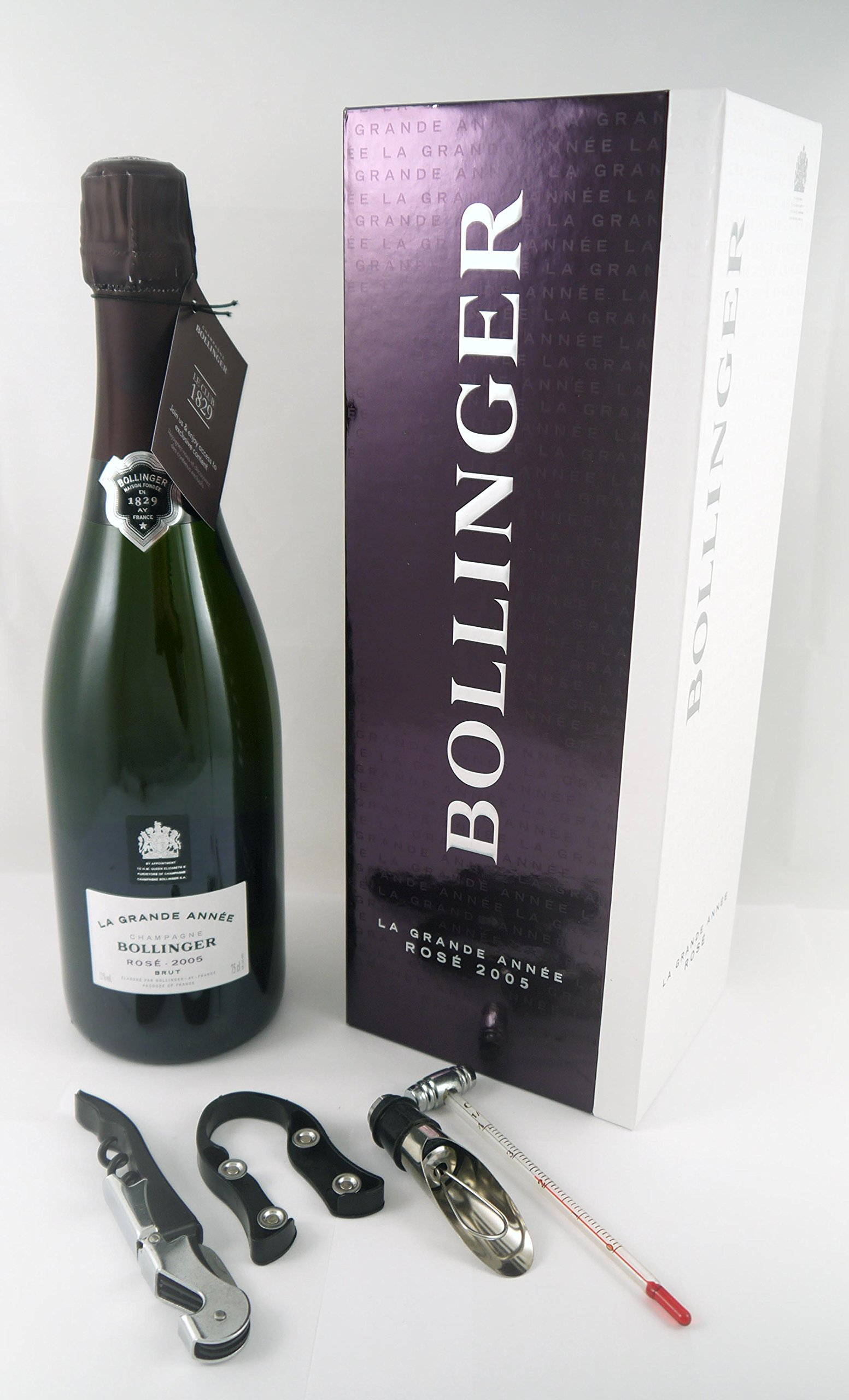 2005 Bollinger Rosé Grand Annee Vintage Champagne in its original gift box with four wine accessories.