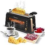 2 Scheiben Toaster mit Glas-Fenster und Sandwich-Zange für Toastis, Sandwich und CO. XXL Langschlitz perfekt für Bagel