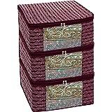 Homestrap Premium 3 Layer Cotton Multi Purpose Storage/Clothes/Saree Cover Bag (Maroon | Pack of 3)