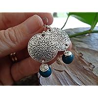 ✿ SEMI DI ASAI TURCHESE BOHO ETHNO MANDALA ✿ orecchini esotici - regalo unico - fatto a mano