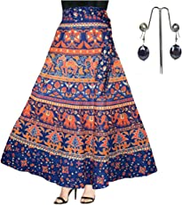 Eshopitude Women's Cotton Jaipuri wrap Around Skirt with Dangling Earrings (Multicolour ESHSKI, Free Size (28))