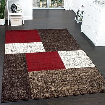 Teppich rot  Designer Teppich Modern Kariert Kurzflor Teppich Design Meliert ...