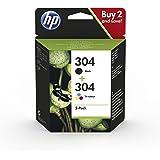 HP 304 3JB05AE - Pack de 2 Cartuchos de Tinta Originales Negro y Tricolor, compatible con impresoras de inyección de tinta HP