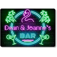 Personalised Bar Sign METAL Plaque Eighties Neon Cocktail Style. Home Pub 80s Shed Garage Man Cave.