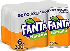 Fanta Naranja Zero Azúcares - Refresco con 7% de zumo de Naranja, zero azúcares añadidos - Pack 6 latas 330 ml