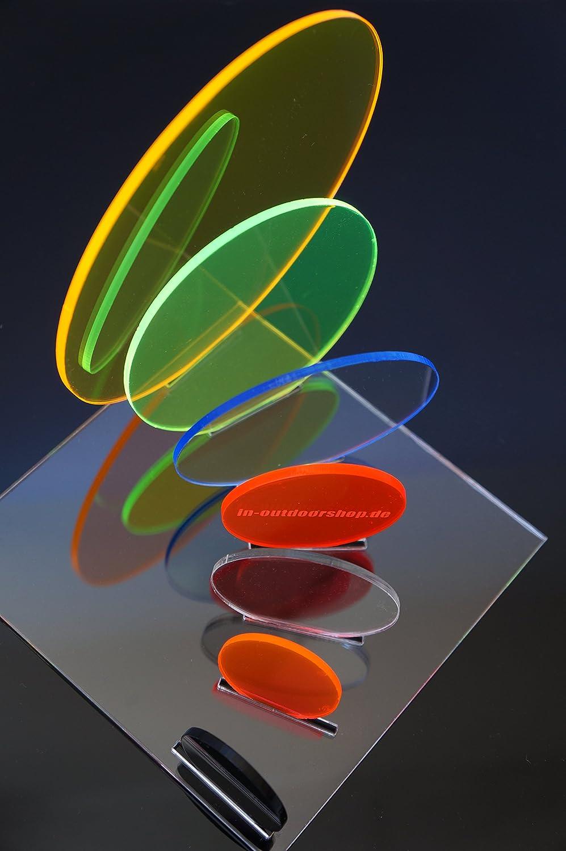 Scheibe verschiedene Gr/ö/ßen Rund in-outdoorshop Acrylglas Fluoreszierend Zuschnitt Plexiglas/® Platte Rund /Ø 120mm, gr/ün