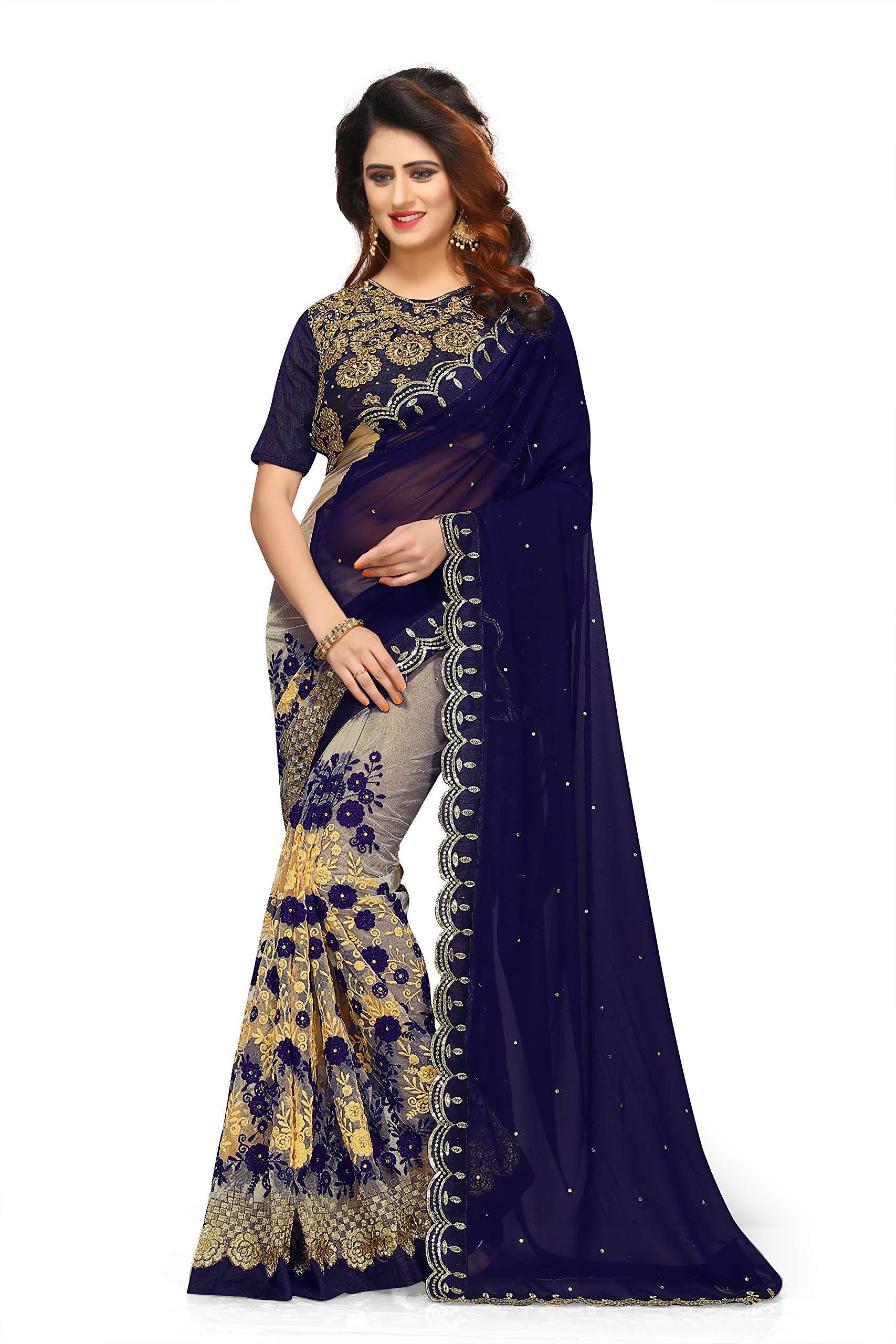 c7aa7ae265 I-Brand Women's Georgette & Mono Net & Banglori Silk Fabric Saree ...