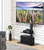 FITUEYES Meuble Télé Pied Support Pivotant pour TV Ecran de 32 à 50 Pouces LED LCD Plasma avec 2 Etagères en Verre Trempé TT206501GB