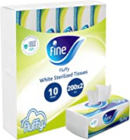 Fine Fluffy Facial Tissues - Pack of 10 (10 x 200 Sheets x 2 Ply)