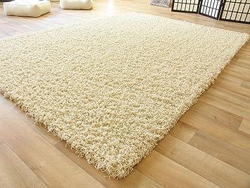 Flauschiger teppich  Shaggy Hochflor Teppich Funny Langflor Teppich in beige mit Öko ...