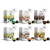 MUST 96 Capsule Solubili MISTI Variety Pack Degustazione, 6 Pack da 16 Capsule, Cialde Autoprotette Compatibili con Macchina