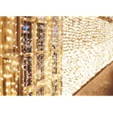 IDESION 600 LED 6M x 3M Tenda Luminosa Natale Esterno/Interno, Tenda Luci Natale IP44 con 8 Modalità di Illuminazione Natale