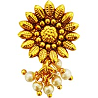 Mehrunnisa Flower Nose Stud Nath with Pearls for Girls/Women (JWL1641)