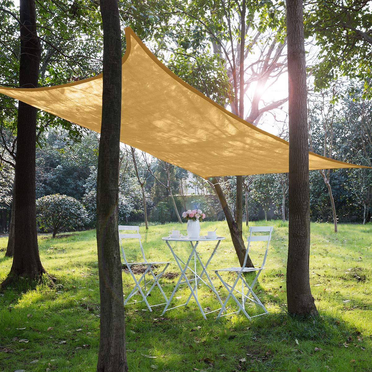 SunnyJoy Sonnensegel Rechteck 4x6m mit Edelstahl-Zubehör Sonnenschutz Wetterbeständig HDPE Atmungsaktiv UV Schutz für…