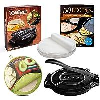Tortillada Presse à tortilla en fonte de qualité supérieure avec livre électronique de recettes (25,4 cm) + chauffe…