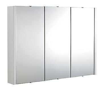 VeeBath Linx 900mm Gloss White Minimalist Bathroom Mirror Storage Cabinet Unit With 3 Internal Shelves