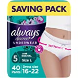 Always Discreet Incontinence Pants for Women, Large, Saving Pack 40 Pants