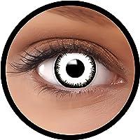 Farbige Kontaktlinsen weiß Vampir MIT STÄRKE   Ideal für Halloween, Karneval, Fasching oder Fastnacht   Inklusive…