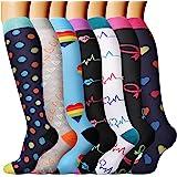 DRESHOW Calcetines de Compresión para Hombres y Mujeres 3/7 Pares 15-20 mmHg es el Mejor para Running, Correr, Senderismo, Vo