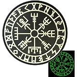 Glow Dark Vegvisir Viking Compass Norse Rune Morale Tactical PVC Gomme 3D Hook&Loop Écusson Patch