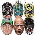 Star Cutouts Ltd-SMP421 Mascarillas para Luchador (Incluye sin Cara Kalisto Rey Mysterio Finn Balor John Cena The Rock, Color