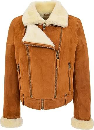 House Of Leather Donna Vero della Pelle di Pecora Aviatore Shearling Pilota Stile Giacca Nora abbronzare Bianco