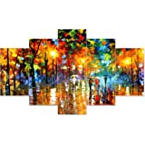 Saumic Craft Set Of 5 Modern Art Nature Scenery 3d Framed Wall Painting For Home Decoration , Living Room , Office , Hall , B
