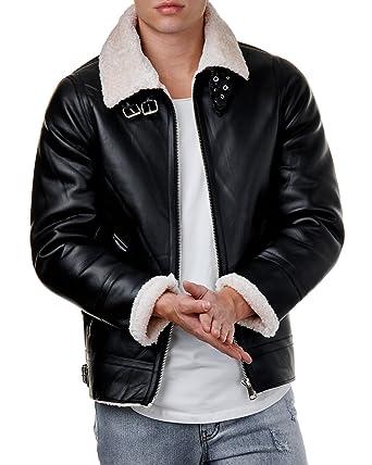 Lederjacke schwarz beige