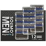Solimo RightFit3 - Para hombre, 12 cartuchos de repuesto (3 cuchillas)