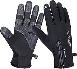 coskefy Fahrradhandschuhe Männer Winter Sport Touchscreen Motorrad Frauen Gefüttert Laufhandschuhe -10°c Winddicht mit Reißverschluss Reiten Camping Wandern Bergsteigen Outdoor Gloves
