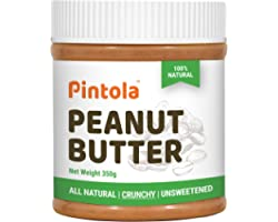 Pintola All Natural Peanut Butter (Crunchy) (350g) | Unsweetened | 30g Protein | Non GMO | Gluten Free | Vegan | Cholesterol