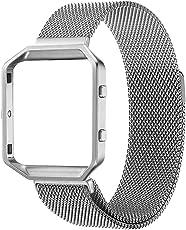 PEMOTech Fitbit Blaze Rahmen Armband, Rugged Metallrahmen mit 6.7-8.3 Zoll Mailands Edelstahl Ring-Armband für Fitbit Blaze Smart Fintness