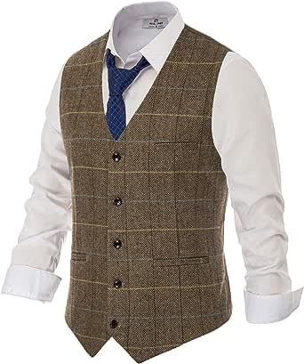 PAUL JONES Men's British Herringbone Tweed Vest Premium Wool Waistcoat, Brown(plaid), XXXL