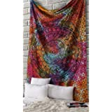 Psychedelic Tapestry for Bedroom Printed Tye-dye Wall Hangings Mandala Multicolour 213x137 Cm Twin Cotton Elephant…