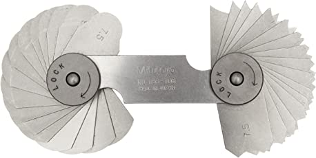 Mitutoyo 186-106, Radius Gage Set, 32 Pairs of Leaves, 7.5mm to 15mm by 0.5mm