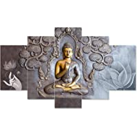 Saumic Craft Set Of 5 Gautam Buddha Wall Painting With Frame For Home Decoration , Living Room Office , Hotel (75 X43 CM…