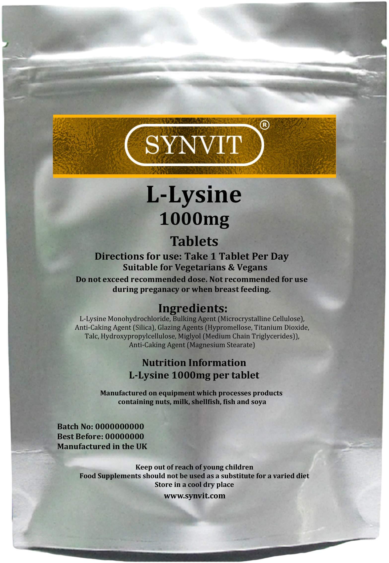 L-Lysine SYNVIT® 1000mg x 60 New Scored Tablets