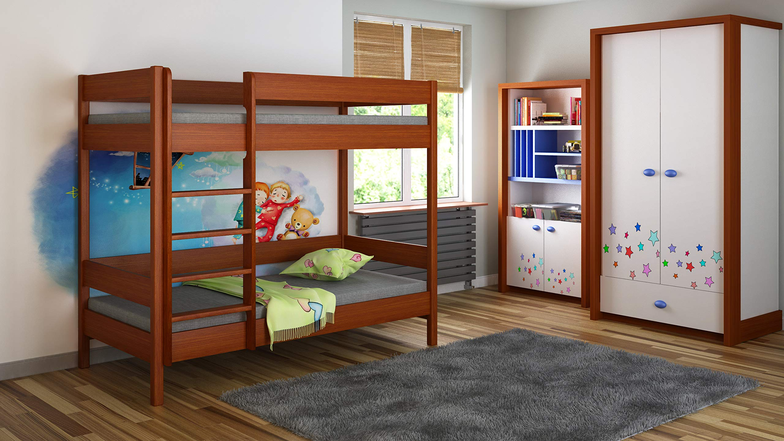 Children's Beds Home Bunk Beds - Kids Children Juniors Single with 2 Foam Mattress but No Drawers (140x70, Palisander) Children's Beds Home Bed with barriers internal dimensions: 140x70x160, 160x80x160, 180x80x160, 180x90x160, 200x90x160. External dimensions: 147x77x160, 167x87x160, 187x87x160, 187x97x160, 207x97x160 Bunk Bed with access from the - Front (D-1), Universal bed entrance - left or right side. 2
