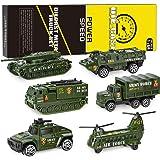 XDDIAS Vehículo Militar Juguete, 6 Pcs Mini Modelos Coche Militar de Juguete, Militares Helicóptero Tanque Jeep Camión Coche