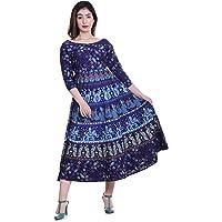 Jaipuri Fashionista Cotton Women's Maxi Long Semi-Stitched Fabric Jaipuri Printed with Atteched Sleeves (Free Size Upto 44-XXL)