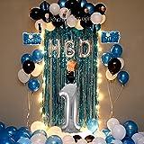 CherishX.com Boss Baby Theme Kids 1st Birthday Balloon Decoration kit Items- Combo 69 Pcs - 1 Digit Foil Balloon, Blue White