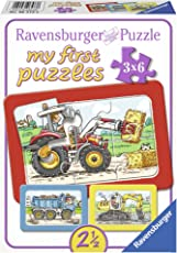 Ravensburger Kinderpuzzle Bagger, Traktor und Kipplader - 06573 / 3 Rahmenpuzzles jeweils 6-teilig mit Fahrzeugen - für Kinder ab 2,5 Jahre