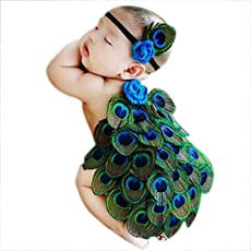 BabyMoon Kids Peacock Tiara and Butt Cover Photography Prop,Small (Multicolour) - Set Of 2