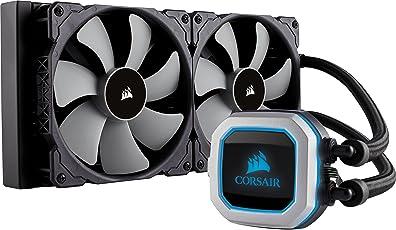 Corsair H115i PRO RGB Wasserkühlung (zwei ML140-Lüfter, Erweiterte Softwaresteuerung der RGB-Beleuchtung und Lüfterdrehzahl, Zero-RPM-Lüftermodus) schwarz