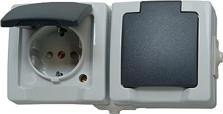 Kopp Nautic Steckdose für Feuchtraum, Aufputz, 250V (16A), 2-fach Schutzkontakt-Steckdose mit Deckel & erhöhtem Berührungsschutz, waagerechte Anordnung, grau, 137056002